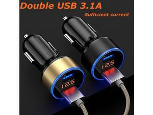 Portable Dual USB  LED Digital Display Quick Charge 5V 3.1A Car Charger Adapter