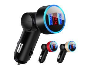 5V 3.1A Rotatable Dual USB Ports Voltage Display Car Mobile Phone Fast Charger