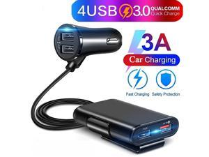 4 USB Ports Fast Charging QC3.0 Car Charger Power Adapter with Extension Cable
