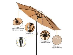 2.7M Hand-cranking Style Foldable Waterproof Folding Sunshade Tawny Sturdy and Stable