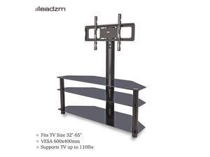 """Floor TV Stand Swivel Mount Glass Shelf for 32 37 40 42 46 47 50 55 60 65"""" TVs"""