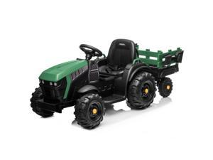 12V Electric Kids Ride On Tractor Car Toy Battery MP3 2 Speed with Trailer GREEN