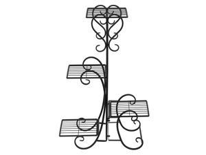 Iron Metal Plant Stand Holds 4 Flower Pot Rack Indoor Outdoor Black USA