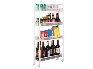 4 Tier Rolling Organizer Cart Laundry Storage Spice Rack Shelves Kitchen