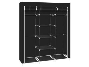 "69"" Clothes Rack Closet Wardrobe Clothes Storage Organizer with Metal Shelves"