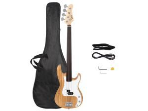 Glarry No Fret Electric Bass Guitar Full Size 4 String Natural Color GP Bass