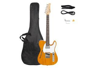 Glarry GTL Semi-Hollow Electric Guitar F Hole HS Pickups Rosewood Fingerboard White Pearl Pickguard Transparent Yellow