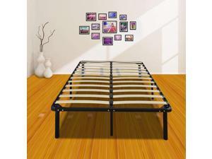 Full Size Metal Mattress Foundation Platform Slats Wood Bed Frame Bedroom