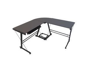 """Glass 59"""" L-Shaped Computer Desk Modern PC Stand Corner Desk Workstation Office"""