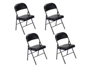 4Pcs Black Folding Chairs Fabric Upholstered Padded Seat Metal Frame Home Office