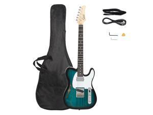 Glarry GTL Semi-Hollow Electric Guitar F Hole HS Pickups Rosewood Fingerboard White Pearl Pickguard Blue