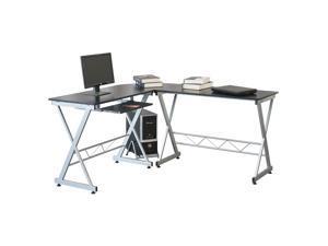 Computer Gaming Desk Wood Steel L-Shape Corner Laptop Table Workstation Office