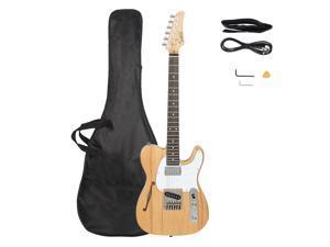 Glarry GTL Semi-Hollow Electric Guitar F Hole HS Pickups Rosewood Fingerboard White Pearl Pickguard Burlywood Electric Guitar