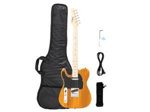 Glarry Yellow Left Hands Maple Fingerboard Electric Guitars w/ Bag & Accessories