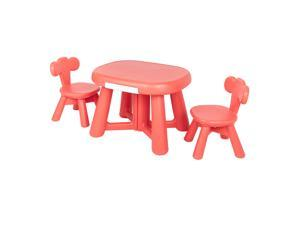 Kids Table and 2 Chairs Set with Storage Bins for Children Drawing Playing Red