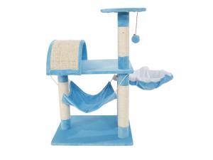 "32"" Cat Tree Tower Post Scratcher Condo Furniture Pet Kitten House Blue Cat Toy"