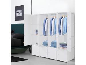"16-Cube DIY Modular Shelving Storage Organizer,14""x 18"" Portable Wardrobe with 3 Clothes Rods & Door"