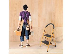 Portable Anti-Slip 2 Step Ladder Folding Step Stool 330Lbs Max Capacity Yellow