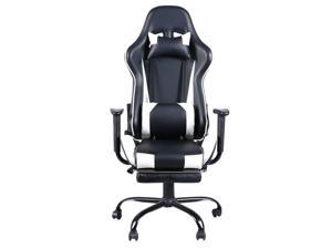 Computer Gaming Chair Racing Style with Footrest Support Chair Black White