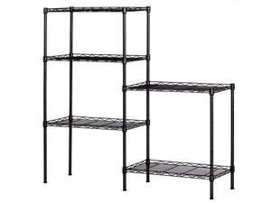 Black 5-Tier Layer Shelf Adjustable Wire Metal Shelving Rack High Quality Garage 21.25