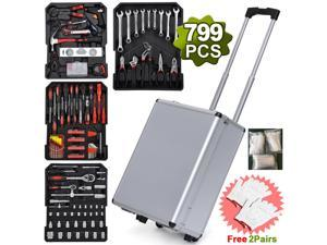 Karlhome 799pcs Household Tool Set with Aluminum Trolley Case, Auto Repair Tool Kit Toolbox, Silver