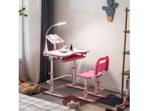 Height Adjustable Kids Desk Children's School Desk Set with Chair Pink
