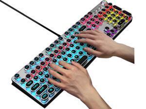 104 Key e-sport Mechanical Keyboard Gaming Keyboard Wired USB LED Backlit Retro Typewriter Mechanical Keyboard - Blue Switch - Round Keycaps