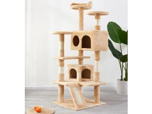Cat Tree Apartment with Sisal Armrest, Armrest Board, Plush and Double Room, Cat Tower Furniture, Kitten Activity Center, Cat Play House