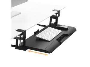 Saemoza Keyboard Tray Under Desk,Height Adjustable Slide-Out Keyboard Tray for Computer Desk Typing and Mouse Work,C-clamp Mount System Easy Installation,Black