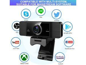 Webcam with Microphone, 1080P Full HD Webcam with 360° Rotation, USB Web Cam for PC or Laptop Video Calling, Compatible for Win10/8/8.1/7/XP Linux for Skype, Streaming, Teleconference, Video Chat