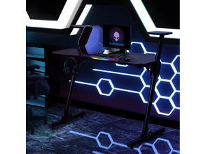 "Gaming Desk, Z Shaped PC Computer Desk Home Office Desk Student Desk Game Station Desk with Headphone Hook and adjustable Pads, 43.3""L x 23.6""W x 40.5""H, Black"