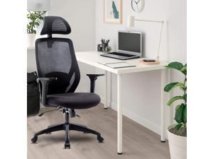 Ergonomic Office Chair-High Back Desk Chair with Adjustable Lumbar Support & Thick Seat Cushion -90°-135°Reclining & 360° Rotatable Mesh Computer Chair with Adjustable Headrest, Armrest