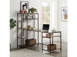 """Home Office Computer Desk with 9 Storage Shelves, UHOMEPRO Modern Large Study Table PC Laptop Writing Desk Workstation with Hutch Bookshelf, 62.9""""L x 35.4""""W x 57.8""""H, Brown"""