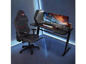UHOMEPRO Gaming Desk, Premium Home Office PC Computer Table for Gamer Pro, Black Gaming Desks Workstation with 2 Cable Management Holes, Mdf PVC Laminated Tabletop + Thicker Steel, BLACK