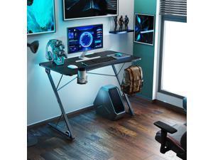 UHOMEPRO Gaming Desk, Premium Home Office PC Computer Table for Gamer Pro, Black Gaming Desks Workstation with RGB LED Lights, Cup Holder, Headphone Hook, Metal + PB, Black