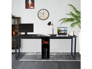 """Computer Desk with Hutch, UHOMEPRO Extra Long Two Person Desk with Storage Shelves, Double Work Station Office Desk Table Study Writing Desk for Home Office,78.74""""L x 23.62""""W x 29.92""""H, Brown"""
