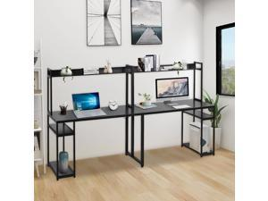 """Computer Desk with Hutch, UHOMEPRO Extra Long Two Person Desk with Storage Shelves, Double Work Station Office Desk Table Study Writing Desk for Home Office, 94.48""""L x 23.62""""W x 53.46""""H, Black"""