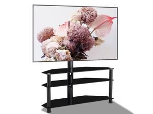 """Universal Swivel Floor TV Stand, UHOMEPRO SturdyTV Mount Stand for Most 32""""-65"""" LCD LED Flat/Curved Screen TVs TV and Media Shelf Height Adjustable, Internal Cable Management, Three Level Glass Base"""