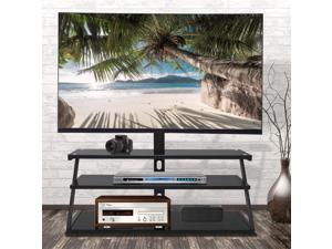 """Universal Swivel Floor TV Stand, UHOMEPRO SturdyTV Mount Stand for Most 32""""-65"""" LCD LED Flat/Curved Screen TVs, Height Adjustable, Metal Tube Cable Management, Glass Base,  Black"""