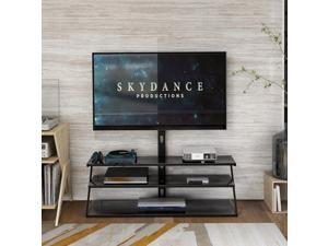 """Universal Swivel Floor TV Stand, UHOMEPRO SturdyTV Mount Stand for Most 32""""-65"""" LCD LED Flat/Curved Screen TVs, Height Adjustable, Metal Tube Cable Management, Glass Base,  Blackvvvv"""