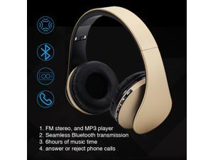 Wireless Headset, UHOMEPRO Bluetooth Headset with Mic, FM and MP3 player functions, Wired Stereo Headphones, Headphones for Music, Sports, Answer or Reject Phone Calls for Wearing  (champagne)