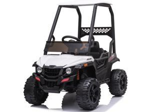 Electric Vehicle for Kids, 12V Ride on Car with Ceiling, Remote Control, LED Headlights, Foot Pedal, Power 4 Wheels Off Road UTV Truck Ride on Toy for Girls Boys Gifts