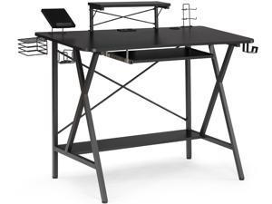 "Gaming Desk, 47"" E-Sports Computer Desk, E-Sports Computer Desk, PC Gaming Workstation Desk with PC Stand Shelf, Keyboard Stand, Power Strip w/USB, Cup Holder&Headphone Hook, Home Office Desk, Black"