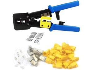 RJ45 Crimp Tool 6P 8P Multi-function Cable Cutter Pass Through Crimper Ethernet Cable Connector Crimping Tool Ratcheting Hand Tools Bonus CAT6 Connector 20 Pack