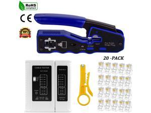 All-in-one RJ45 Crimper tool for Cat5 Cat6 Cat6a Pass Through Connectors, with 1 piece Cable Tester and 1 Pieces Mini Wire Stripper and 20 Pieces Cat6 Connectors