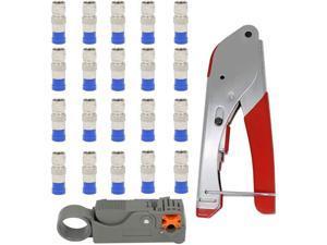 Compression Tool Kit,Coax Compression Crimper,Compression Crimping Tool +Coaxial Crimper Cable Cutter +20pcs Connectors Hand Tool Set
