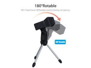 USB Microphone, Condenser Mic for Computer, PC, Podcasting, Vlog, YouTube, Studio Recording, Skype, Stream, Voice Over, Vocal Dictation with Desktop Tripod Stand & 6ft Audio Cable