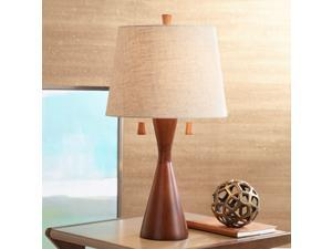 Modern Table Lamp Warm Brown Wood Hourglass Oatmeal Fabric Tapered Drum Shade for Living Room Family Bedroom Bedside