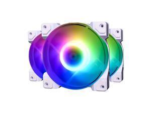 DF-12025-ARGB Trio Snow Case Fan CPU Cooling Fan Addressable RGB Case Fan 5V ARGB MB Aura Sync PWM Fan for CPU Cooler/Raidator/PC Chassis 3 Pack RGB Fans