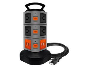 Surge Protector Power Strip, Safety Universal Electric Charging Station; with 10 Outlets 4 USB/Rotating Tower/ 6 feet Cord Wire Extension Power Strip Tower (10 Outlets 4 USB)